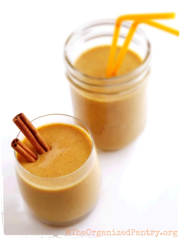 Super creamy smoothie made with pumpkin, yogurt, maple syrup, and pumpkin pie spices. A must-try!