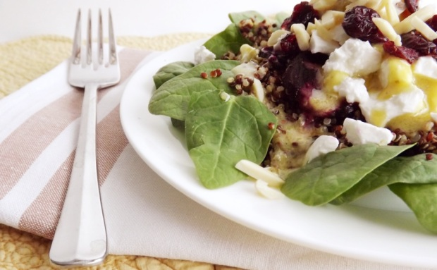 Quinoa & Feta Spinach Salad with Beets, Almonds & Cranberries