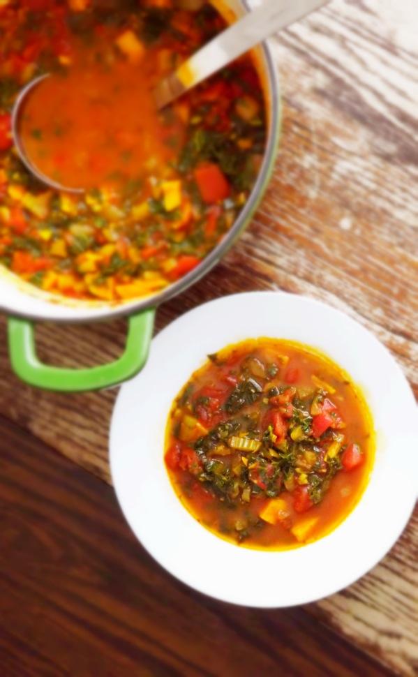 Sweet Potato Soup with Kale