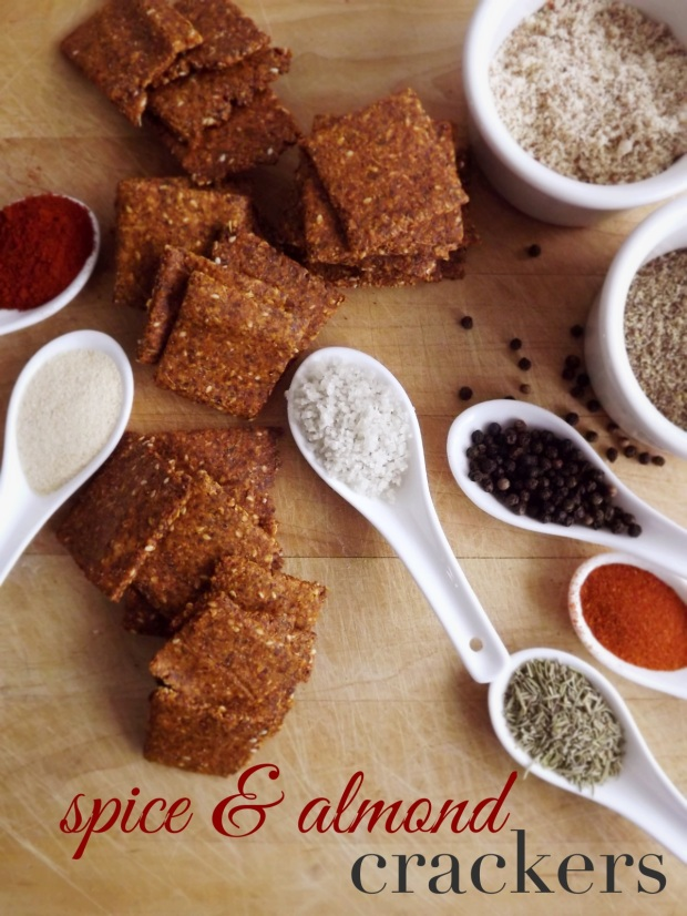 Spice Almond Crackers - Grain-free crackers- paleo, clean eating.